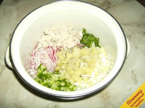 Окрошка постная на квасе, пошаговый рецепт с фото