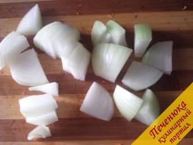 3) Лук нарежем крупными кусочками, два зубчика почистим, выдавим через чеснокодавку или мелко измельчим ножом. Добавим к нашинкованной капусте.